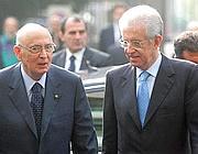 Giorgio Napolitano con Mario Monti (Liverani)