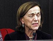 Le lacrime di Elsa Fornero durante la conferenza stampa (Ansa)