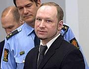 Anders Breivik durante il processo a Oslo (Afp)