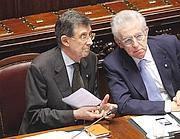 Il premier Mario Monti e il ministro per i Rapporti con il Parlamento Piero Giarda (Ansa)