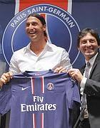 Ibrahimovic con la maglia del Paris Saint Germain