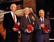 Armstrong tra gi altri due componenti della storica missione: Edwin Aldrin e Michael Collins (Reuters)