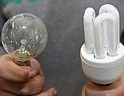 A sinistra una lampadina a incandescenza, a destra una a fluorescenza (Ansa)