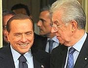 Silvio Berlusconi e Mario Monti (Ansa)