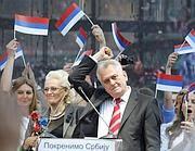 Tomislav Nikolic, presidente serbo, in un comizio (Reuters)