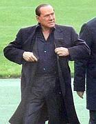 Il leader del Pdl, Silvio Berlusconi, a Milanello  (Ansa)