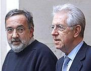 Sergio Marchionne e Mario Monti (Ansa)