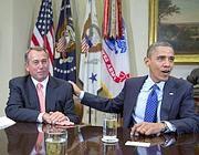 Barack Obama con lo speaker della Camera John Boehner (Ap)