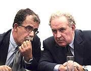 Sandro Ruotolo (a sinistra) conm Michele Santoro (Lapresse)