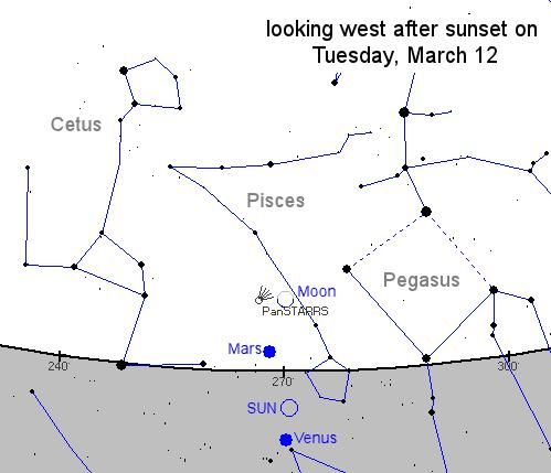 La posizione della cometa in cielo martedì 12 marzo (Nasa)