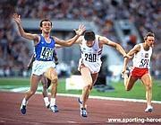 Pietro Mennea primo al traguardo nella finale olimpica di Mosca '80