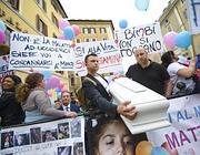 La manifestazione pro-Stamina davanti a Montecitorio (Ansa)