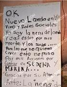 Il cartello di rivendicazione dell'omicidio di Marisol Macias Castaneda