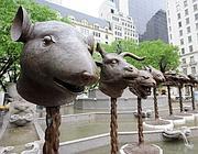 Una installazione di Ai Weiwei sull'oroscopo cinese realizzata a New York (Epa)