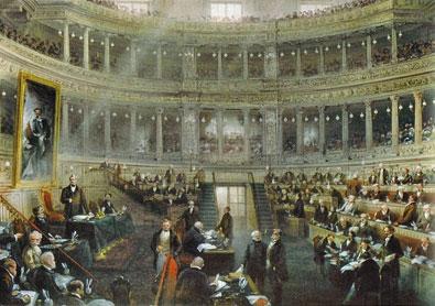 Una seduta del Senato subalpino, nel 1860, in un dipinto del pittore Carlo Bossoli (www.palazzomadamatorino. it)