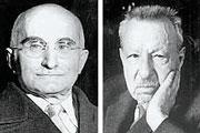 Nei primi anni Venti Luigi Einaudi (foto sinistra) e Benedetto Croce (foto destra) si mostrarono benevoli verso Benito Mussolini e il suo governo
