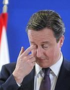 La smorfia del premier inglese David Cameron
