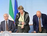 Il leader sindacali: Raffaele Bonanni, Susanna Camusso, Luigi Angeletti (LaPresse)