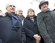 Da sinistra, i segretari della Cisl Raffaele Bonanni, della Cgil, Susanna Camusso e dell'Uil Luigi Angeletti (Ansa/Guido Montani)