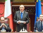 L'intervento per la cerimonia celebrativa dei 150 anni dell'Unità d'Italia a Montecitorio (Ansa)