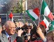 Napolitano a Torino durante la visita per le celebrazioni del 150esimo (Ansa)