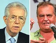 Mario Monti e Roberto Calderoli (Ansa)