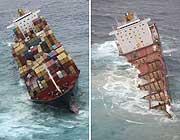 Il cargo nelle due istantanee del 5 ottobre 2011 e del 8 gennaio 2012