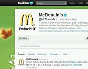 Uno scorcio del profilo twitter di Mc Donald's