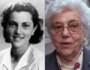 A sinistra una giovane Goti Bauer, a destra la superstite oggi (Archivio Rcs e Mantero)