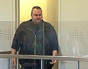 Kim Schmitz, alias Kim Dotcom, fondatore di Megaupload in tribunale (Afp)