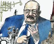 Nel disegno di Fabio Sironi un'interpretazione de «Il nome della rosa» con l'autore Umberto Eco