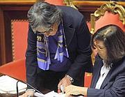 Anna Finocchiaro (PD) e Paola Severino ministro della Giustizia (Photo/LaPresse)