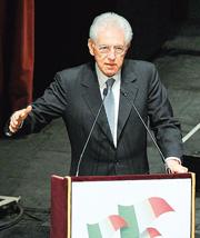 Il presidente del Consiglio Mario Monti al concerto di chiusura delle celebrazioni dei 150 anni dell'Unità d'Italia