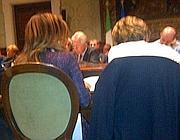Un'istantanea del tavolo postata su Twitter dalla Cgil. Di spalle Emma Marcegaglia e Susanna Camusso. Sullo sfondo il ministro Corrado Passera e il premier Mario Monti