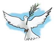La colomba, simbolo di dolcezza e fratellanza universale, nel becco tiene il ramoscello d'ulivo che, secondo il racconto della Genesi, port� a No� per avvisarlo della fine del diluvio e dell'inizio di una nuova pace tra Dio e gli uomini. � anche simbolo dello Spirito Santo