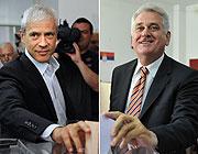 Boris Tadic, a sinistra, e lo sfidante Tomislav Nikolic