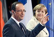 Merkel, faccia a faccia con Hollande:  «La Grecia resterà  nell'euro»<br />