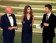 Fabio Fazio con Laetitia Casta e Renato Dulbecco