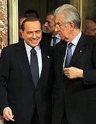 Berlusconi e Monti (Ansa)