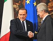 Berlusconi e Monti (Imagoeconomica)