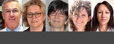 Gli esperti che rispondono ai lettori sul forum Sviluppo fisico del bambino: da sinistra Bona, Petri, Bellone, Prodam, Savastio