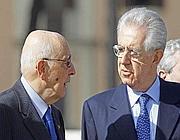 Monti e Napolitano (Ansa)