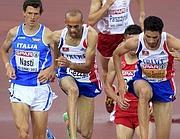 Il francese Nordine Gezzar, secondo da sinistra, in gara nella semifinale degli Europei 2012 di atletica a Helsinki, in gara contro l'azzurro Patrick Nasti e l'altro transalpino Mahiedine Mekhissi-Benabbad  (Reuters/Balogh)