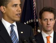 Barack Obama e Timothy Geithner (Afp)