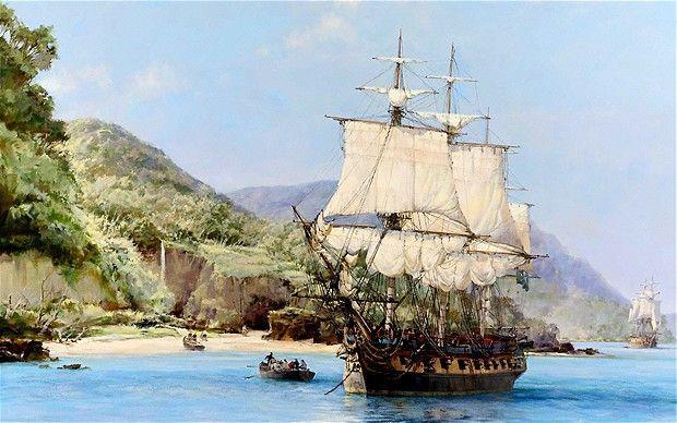 Un quadro che rappresenta lo sbarco di una nave sull'isola di  Cocco