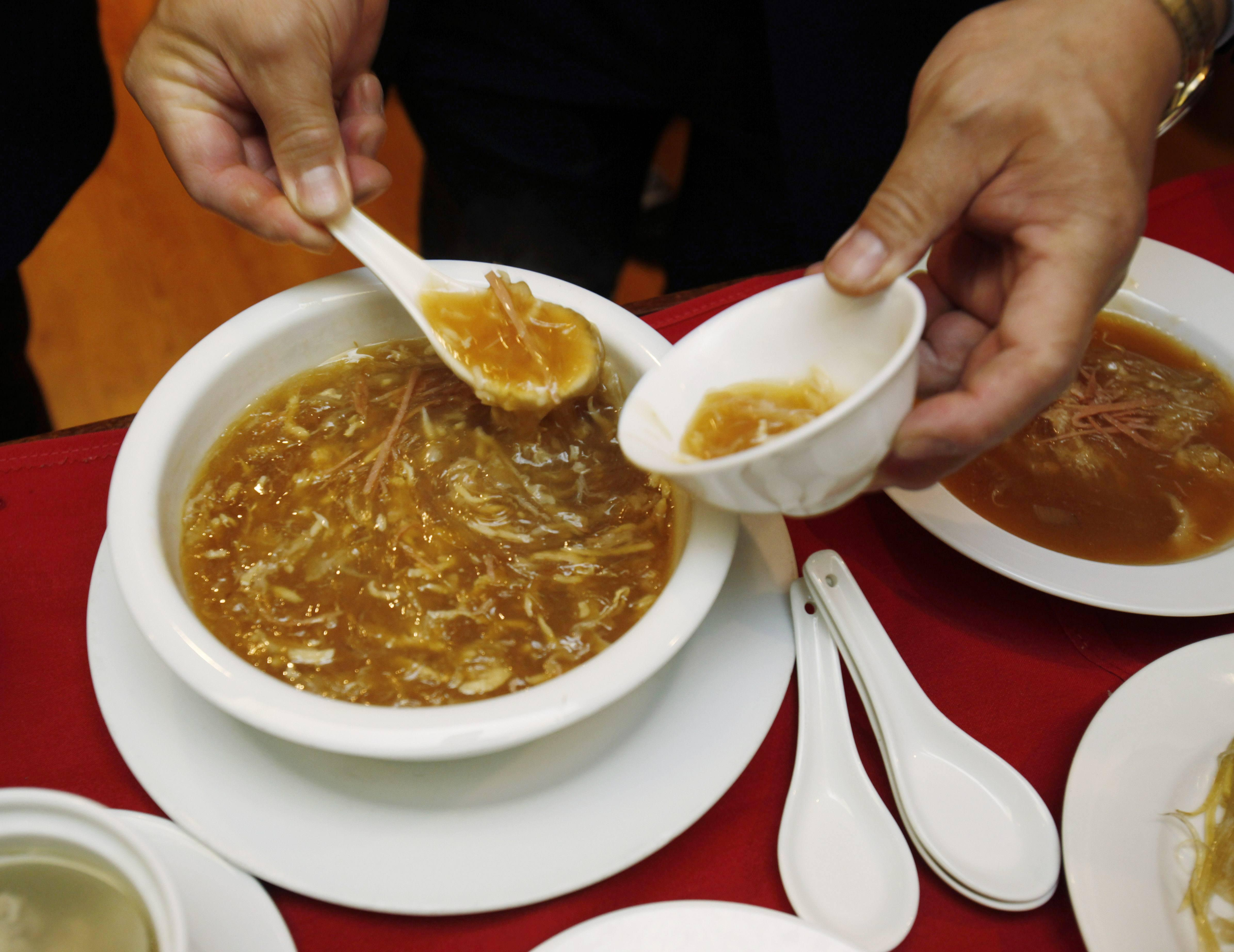 Un piatto di zuppa  di pinne di squalo (Ap/Sakuma)