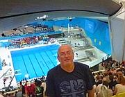 Conrad Readman alla piscina olimpica (dal suo profilo Facebook)