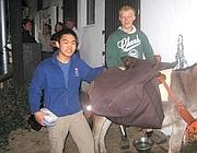 Swen Wang e Nick Sauerwin, con il ciuco Thomas (da www.br.de)