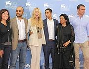 Mira Nair con il cast di 'The Reluctant Fundamentalist'
