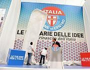 Casini e il simbolo del partito (Ansa)